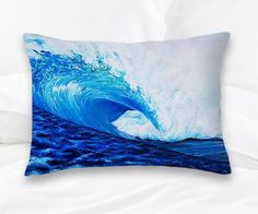 DECORATIVE THROW PILLOW 14 x14 Huge Wave & Surf Art. Ocean art, Hawaiian Surfer Wave.