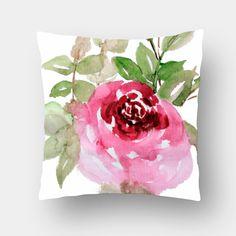 Garden Rose Cushion Cover #cushion #pillow #cushioncover #floralcushion #pinkrosecushion #paintedpillow #watercolordesign #pinkrosecushion #throwpillow