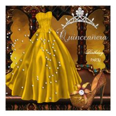 Quinceanera 15th Birthday Party Gold Dress Custom Announcements lowest price for you. In addition you can compare price with another store and read helpful reviews. BuyThis Deals          	Quinceanera 15th Birthday Party Gold Dress Custom Announcements Online Secure Check out Quick an...