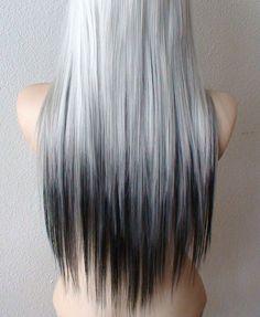 Silver / Black wig. Bright silver with Black hair by kekeshop
