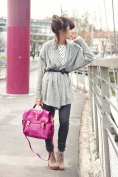 long cardigan tied at the waist, polka dot top, grey jeans @ et pourquoi pas coline