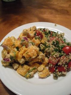 Warm Butternut & Chickpea Salad with Tabbouleh -- Really good. Added golden raisins to squash. Would be better with caramelized onions as raw red onions were too bite-y. Made the tabbouleh with quinoa and added green onions and olive oil to make it more traditional.