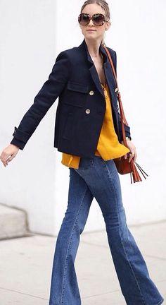 Navy blazer/flare leg jeans