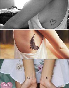 tatuagem, feminina, delicada,: