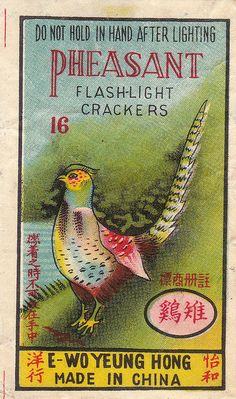 Pheasant firecracker pack label by Mr Brick Label