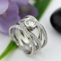 Bead Set Platinum Engagement Ring by modernheirloom on Etsy, $14500.00