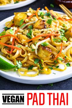 This Vegan Pad Thai has the perfect combination of sweet, tangy & spicy flavors that'll send your taste buds into overdrive. It's so easy to make and it'll be on your table in 30 minutes.  #veganpadthai #padthai