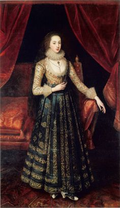Portrait of a lady thought to be Vere Egerton, Mrs William Booth, attributed to Robert Peake (1541-1619). R