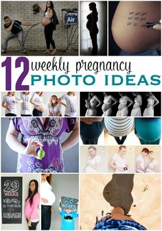 Women are beautiful and strong when they're expecting-- capture those moments before they're gone with these weekly pregnancy photo ideas.