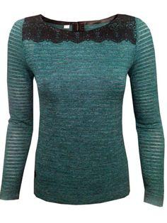 Блуза с дълъг ръкав - петролено зелено с черна дантела