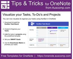 Tips and Tricks for OneNote users: Visualize your Tasks, To-Do's and Projects. Please share. - FREE MS OneNote Templates - Tips and Tricks for OneNote users: Visualize your Tasks, To-Do's and Projects. Please share. Onenote Template, Notes Template, One Note Tips, One Note Microsoft, Microsoft Office, Project Management Templates, Software, Moral, Blogger Tips