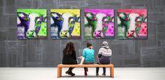 Pop Art Kuh auf Leinwand 75 cm x 75 cm, in 4 verschiedenen Farben. Super Bild für deine Küche. Direkt im Kunstatelier zu bestellen: EUR 85,–