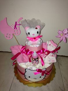 Hello kitty diaper cake