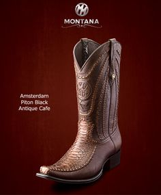 #Montana #Botas #Amsterdam #PitonBlack #Modelo AM104PY #Color Antique Cafe #MontanaisBack