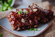 Crock Pot Asian-Style Ribs - Tender, fall-off-the-bone ribs made in the crock pot with Asian influenced flavors.