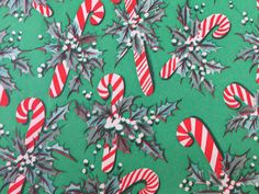 Vintage Gift Wrapping Paper - Candy Cane Crazy - Candy Canes and Festive Holly - 1 Unused Full Sheet Christmas Gift Wrap by TheGOOSEandTheHOUND