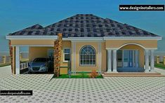 Modern loft house exterior with summer house two storey with modern with bungalow house design in nigeria Bungalow Haus Design, Modern Bungalow House, Bungalow House Plans, Duplex House Plans, Dream House Plans, House Floor Plans, Loft House, Contemporary House Plans, Modern House Plans