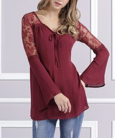 Look what I found on #zulily! Burgundy Lace-Shoulder Bell-Sleeve Tunic - Plus Too #zulilyfinds