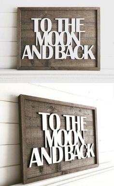 I love how this sign incorporates both rustic and modern elements | Perfect for a bedroom or nursery! | Barnwood shiplap wood sign | To the moon and back #affiliatelink #woodsign #etsy #shiplap #farmhouse #farmhousestyle #farmhousedecor #fixerupper #nurserydecor #kidsroom #modernfarmhouse #oybpinners #commissionlink