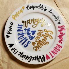 Materials testin Posca, Decorative Plates, Ceramics, Lettering, Ceramica, Pottery, Calligraphy, Ceramic Art, Letters