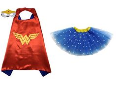 Superhero  or  princess  tutu  cape  mask  set  costume  kids  childrens  halloween  Wonder  Woman  blue  star  yellow