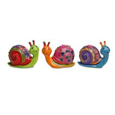 garden ornaments and accessories. bright coloured decorative patterned snail ornament - three colours available garden ornaments \u0026 accessories #gardening and n