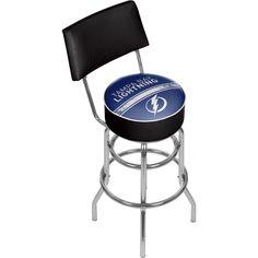Trademark Gameroom NHL Swivel Bar Stool with Back - Tampa Bay Lightning
