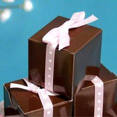 """2"""" x 2"""" Chocolate Bridal Shower Party Favor Gift Boxes - 100 pcs   100 PCS 2"""" x 2"""" Chocolate Bridal Shower Party Favor Gift Boxes"""