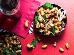 Toss cashews and peanuts in caramelized sugar, fish sauce, garlic, and chile for a powerful, can't-stop-eating bar snack.