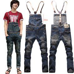 2014 New Arrival Top Sell Men's Vintage Distrressed Denim Jeans Jumpsuits Man Denim Jumpsuits Denim Dungarees, Jeans Jumpsuit, Jeans Pants, Ripped Jeans, Skinny Jeans, Jeans Material, Hoodie Sweatshirts, Estilo Jeans, Mens Fashion Wear