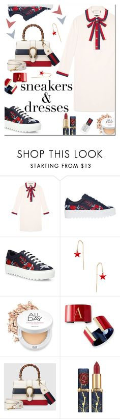 """SNEAKERS & DRESS"" by iraavalon ❤ liked on Polyvore featuring Gucci, Salvatore Ferragamo, Shashi and Mark & Graham"