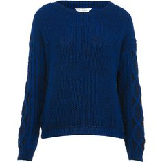 Blue Cable Sleeve Sweater ($68) ❤ liked on Polyvore