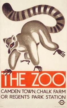 The zoo; lemur, by Oleg Zinger, 1933 Poster; The zoo; lemur, by Oleg Zinger, 1933 The Zoo, London Transport Museum, Railway Posters, Museum Shop, Vintage Travel Posters, Transportation, Art Prints, Retro, London Underground