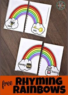 FREE Rhyming Rainbows – this free printable rhyming activity is a fun way for preschool, kindergarten and first grade kids to improve reading readiness - Kids education and learning acts Activities For Kindergarten Children, Rhyming Kindergarten, Kindergarten Centers, Free Preschool, Preschool Printables, Kindergarten Reading, Preschool Literacy, Literacy Centers, Rainbow Activities