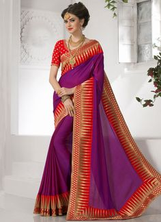 Opulent Purple Zari Work Faux Crepe Designer Saree