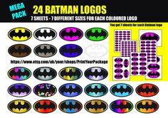 Batman different colour logos. Batman Stickers, Logo Stickers, Batman Birthday, Batman Logo, A4 Paper, Party Items, Batgirl, Different Colors, Make It Simple
