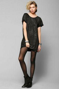 Sparkle & Fade Foil-Print Tee Dress #urbanoutfitters