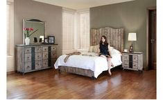 Beautiful rustic bedroom set. Gray and white bedroom set. Cheap bedroom set. Bed frame, headboard, side table, dresser.