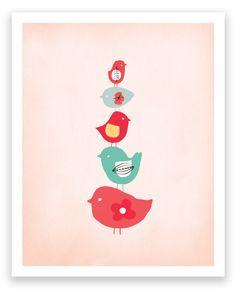 Birds Sweet Bird Stack Art Print
