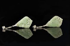 Vintage Chinese Carved Green Jade 14k White Gold Diamonds Earrings
