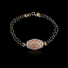 A Stylish Mangalsutra Bracelet in F color & VVS clarity cts) Diamonds in Gold Mangalsutra Bracelet, Diamond Mangalsutra, Gold Mangalsutra Designs, Gold Jewellery Design, Gold Jewelry, Beaded Jewelry, Diamond Jewellery, Black Diamond Jewelry, Quartz Jewelry