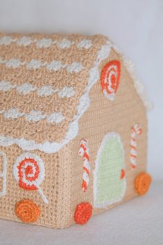 "Crochet Napkin Holder ""Gingerbread house"" Very Pretty, but no longer available at ETSY.com."