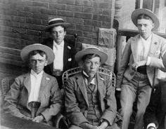 Group of young men - in suits and straw hats :: Western History, 1893, 1890 - 1900