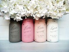 Blush and Mocha Wedding - Painted and Distressed Mason Jars - Centerpiece - Vase / Home Decor. $24.00, via Etsy.