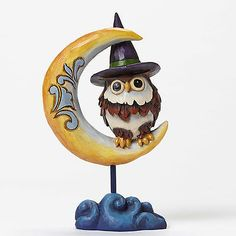 JIM SHORE HEARTWOOD CREEK ~ PINT SIZED OWL ON CRESCENT MOON ~ 4047841 ~HALLOWEEN - http://collectiblefigurines.net/enesco/jim-shore/halloween/jim-shore-heartwood-creek-pint-sized-owl-on-crescent-moon-4047841-halloween/