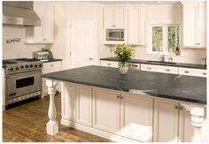 Kitchen:Soapstone Kitchen Countertops Design Cost How Much Soapstone Countertops Cost Actually? Soapstone Countertops Cost, Soapstone Kitchen, Outdoor Kitchen Countertops, Kitchen Countertop Materials, Bathroom Countertops, Kitchen Cabinetry, Blue Countertops, Kitchen Counters, Dark Counters