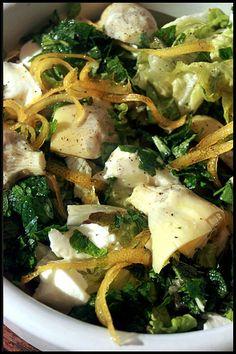 Salade d'artichauts, mozzarella et zestes de citron confits