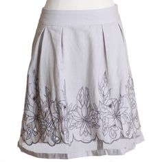 Embroidered Flower Beds Gray Skirt | Ruche $38.99