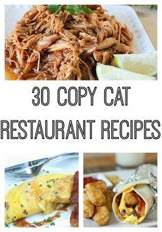 30 Copy Cat Restaurant Recipes #recipes