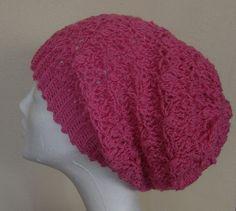 Burgundy Pink Crochet HAT  Icelandic Production by HuldaGK on Etsy
